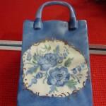 Vase panier bleu
