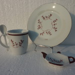Ensemble tasse , assiette et repose thé brindilles