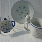 Ensemble thé, repose thé et assiette bleuet 1