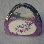 Sac couture violette et anses en platine 1